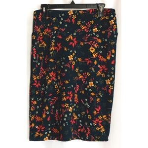 LuLaRoe Cassie Skirt Floral Dark Green Pink Yellow